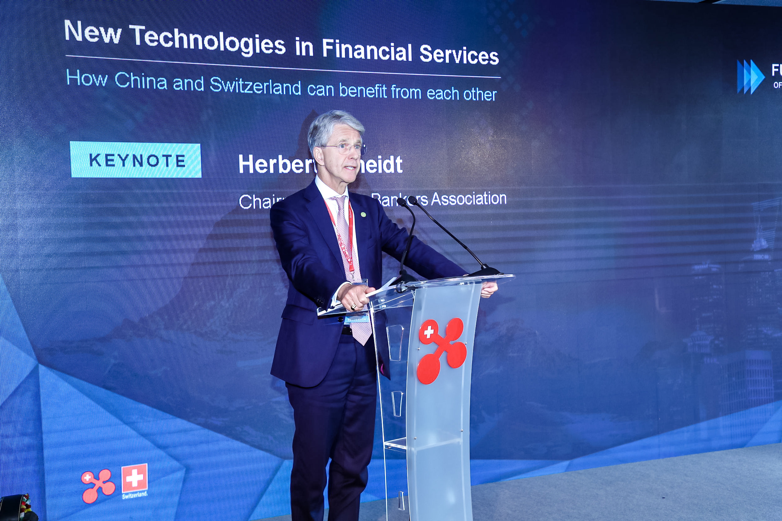 Mr Herbert J. Scheidt, Chairman of the Swiss Bankers Association (SBA) delivers a keynote speech.