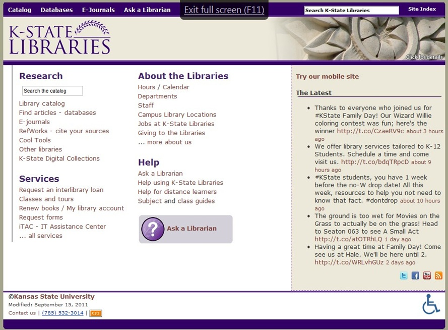 The Kansas State University Libraries Web site before its redesign.