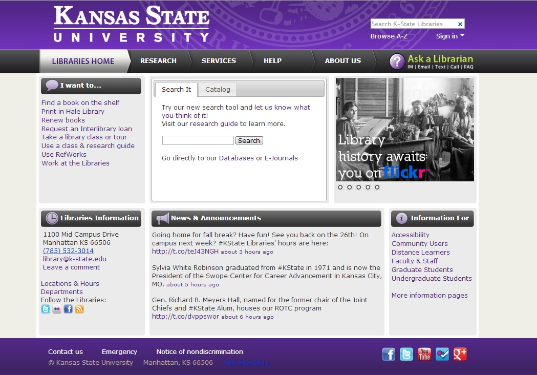 Redesigned Kansas State University Libraries Web site.