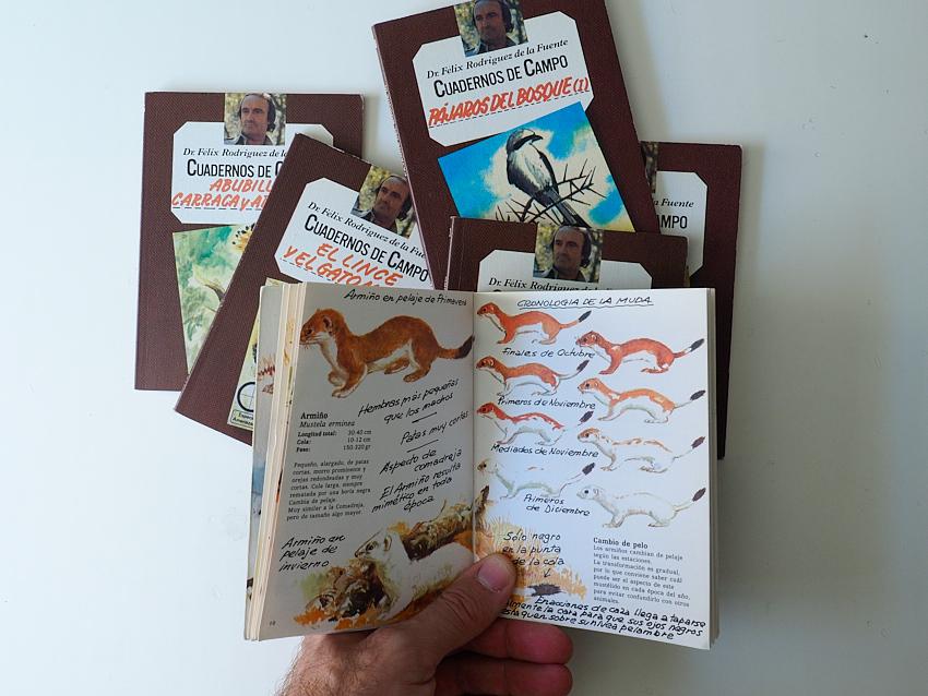 © Daniel Belenguer. Algunos de los cuadernos de Félix Rodriguez de la Fuente, el abierto en concreto es el primero que me regalaron mis padres. ¡Pequeños carnívoros!