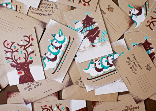 Silkscreened holiday postcards by  Olga Vasik