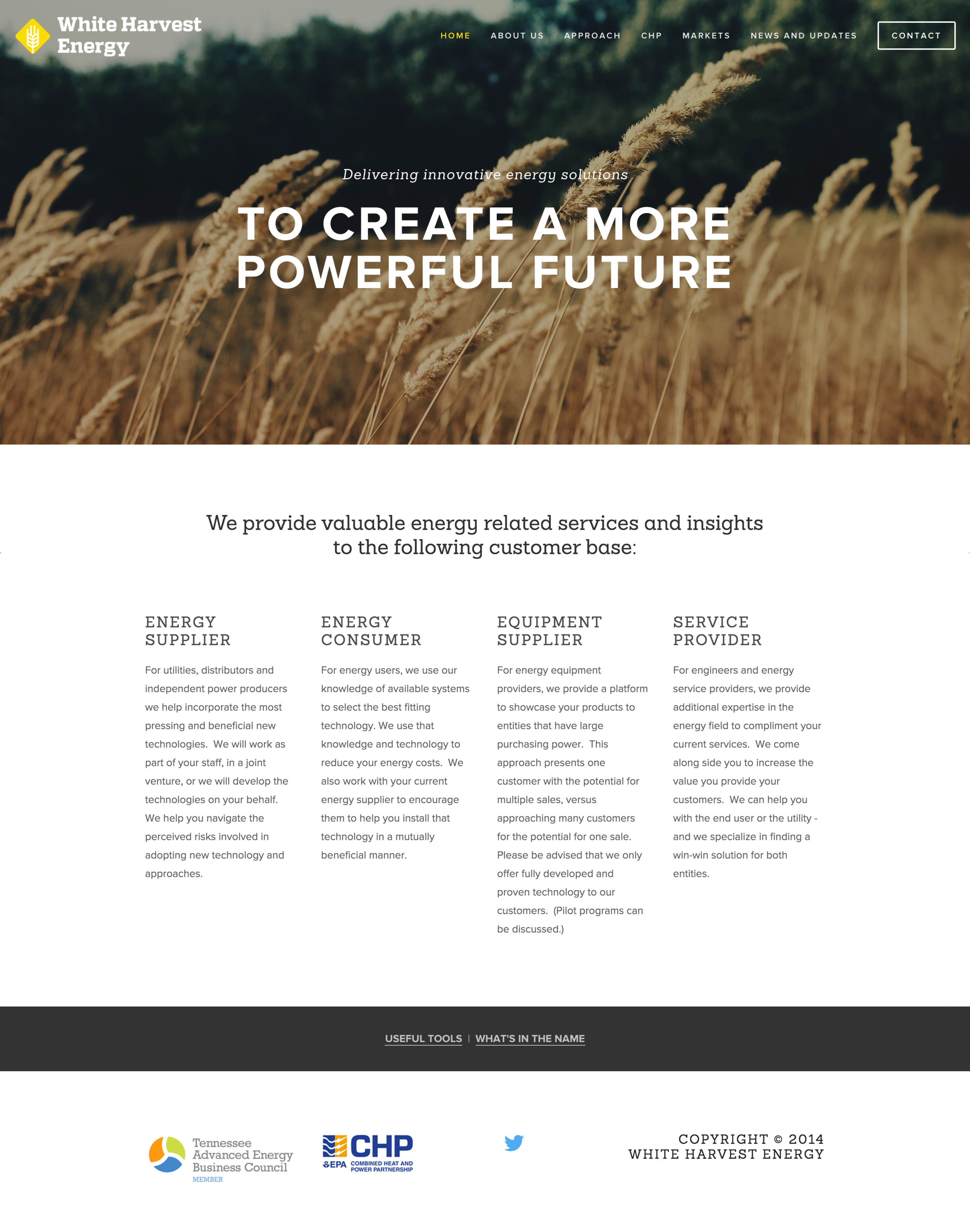 White Harvest Energy Website Home Page