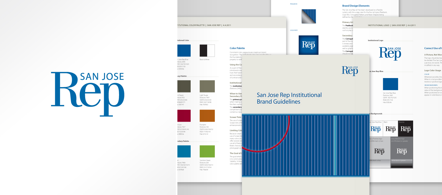 """San Jose Rep's redesigned logo and 20-page branding guideline. The table of contents include: brand promise; retiring the """"e"""" logo; the new logo; correct use of the institutional logo; logo clear space, placement, and sizing; incorrect logo uses; color palette; the Blue Box; brand design elements; using the primary art; and typography (primary and alternate)."""