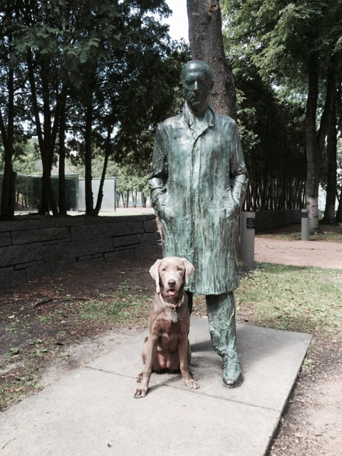 """A man and his dog. The quote by the sculpture, """"The archaic Greek walking man's spine is very erect and he has one foot forward and his arms are straight down, and he's as much Greek as he is Egyptian as he is Greek. It goes on and on through Giacometti.  –George Segal, American 1924-2000"""