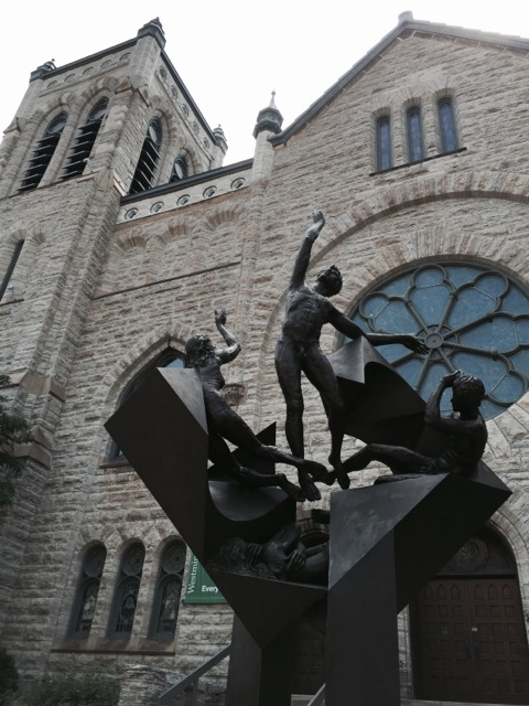 The beautiful sculpture in front of a church...