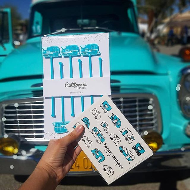 It's no secret that we love turquoise - and so do our fabulous customers! We got to meet @thebunnyboxvb at the Vintage Trailer Show during @modernism_week ✨ She's got the cutest camper that coordinates with our trailer swizzles and she also got the most adorable @bettyboomerang happy camper card! . . .  #turquoise #vintagecamper #modernismweek #palmsprings #palmspringsdream #swizzlesticks #californialustre #vintagetrailer #happycamper #homeiswhereyouparkit #adventure #glamper #glamping #optoutside #vintagecaravan #1960s #midcenturymodern #abmlifeiscolorful #livecolorfully #palmspringslife #flashesofdelight #thatsdarling #makeyousmilestyle #summertime #thebunnyboxvb #midcenturystyle #shoplocal #palmspringsisbetter #vacationmode