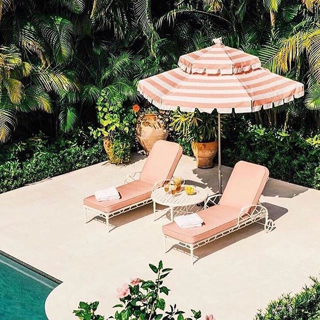 How perfect would this be for a sunny Palm Springs afternoon? . . . 📸: @businessandpleasure_co  #poolside #poolday #takemethere #palmsprings #palmspringslife #palmspringsstyle #allpinkeverything #outdoorliving #poolparty #abmlifeiscolorful #abmhappylife #thatsdarling #vacationmode #midcenturystyle #makeyousmilestyle #flashesofdelight #getaway  #packyourbags #abmtravelbug #pinkumbrella #californialustre #californiadreaming #vintagedecor #palmspringsisbetter #leisure #leisurelife #tropicalvibes #relaxing