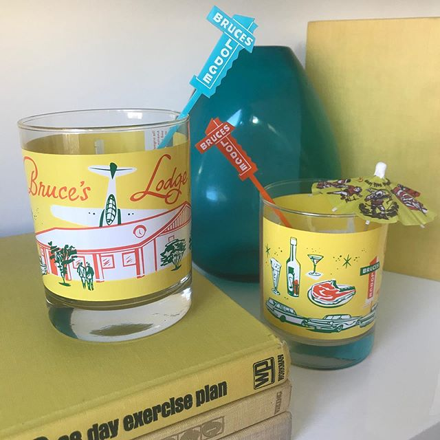 You know it's going to be a great  day when you find a 📦 waiting for you in the 📪 . . A big thank you to @flipflopfrank for the new color of the Bruce's Lodge old fashioned glasses  designed by @michelle_bickford ✨ Also a colorful assortment of custom swizzles and drink picks we made to match and the coolest custom drink umbrellas and coasters! . . . #californiadreamin #customswizzles #bruceslodge  #californialustre #cocktailtime #michellebickford #its5oclocksomewhere #daydrinking #modernismweek #modernismweekfallpreview #palmsprings #palmspringsdream #midcentury #midmod  #abmlifeissweet #abmlifeisbeautiful #abmhappylife #drinkumbrellas #oldfashioned #acolorstory #homebar #swizzlesticks #carepackage #americana #roadsideamerica #roadtrip #roadsideattraction