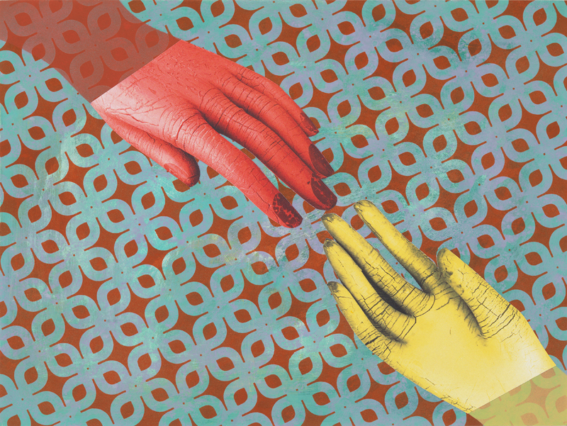 Reach , 2010  Acrylic and collage on panel  9 x 12 inches
