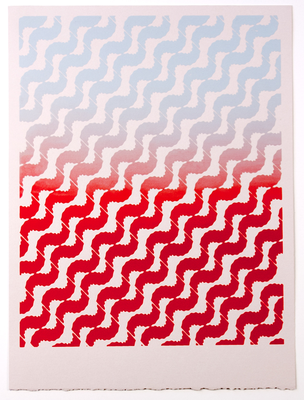 Tessellate (Smoke to Fire) , 2012  Silkscreen print on paper  12 x 9 inches