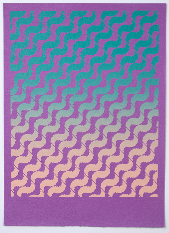 Tessellate (Sunset Breeze) , 2012  Silkscreen print on handmade paper  12 x 9 inches