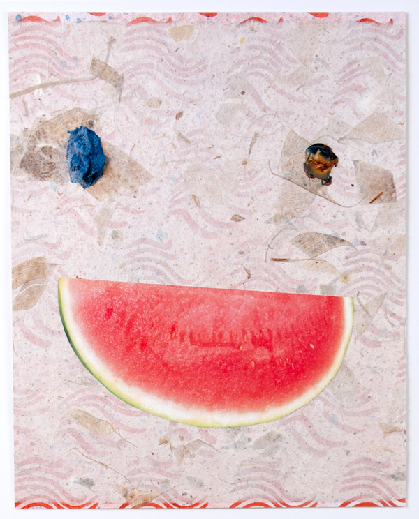 Toothless   Smile , 2012  Thai mulberry bark paper, collage and acrylic paint  9.25 x 7.5 inches
