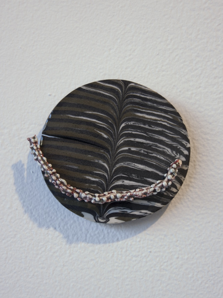 Alisa Ochoa   Part , 2013  Glazed and stained porcelain, epoxy, hardware  4 x 4.25 x .5inches