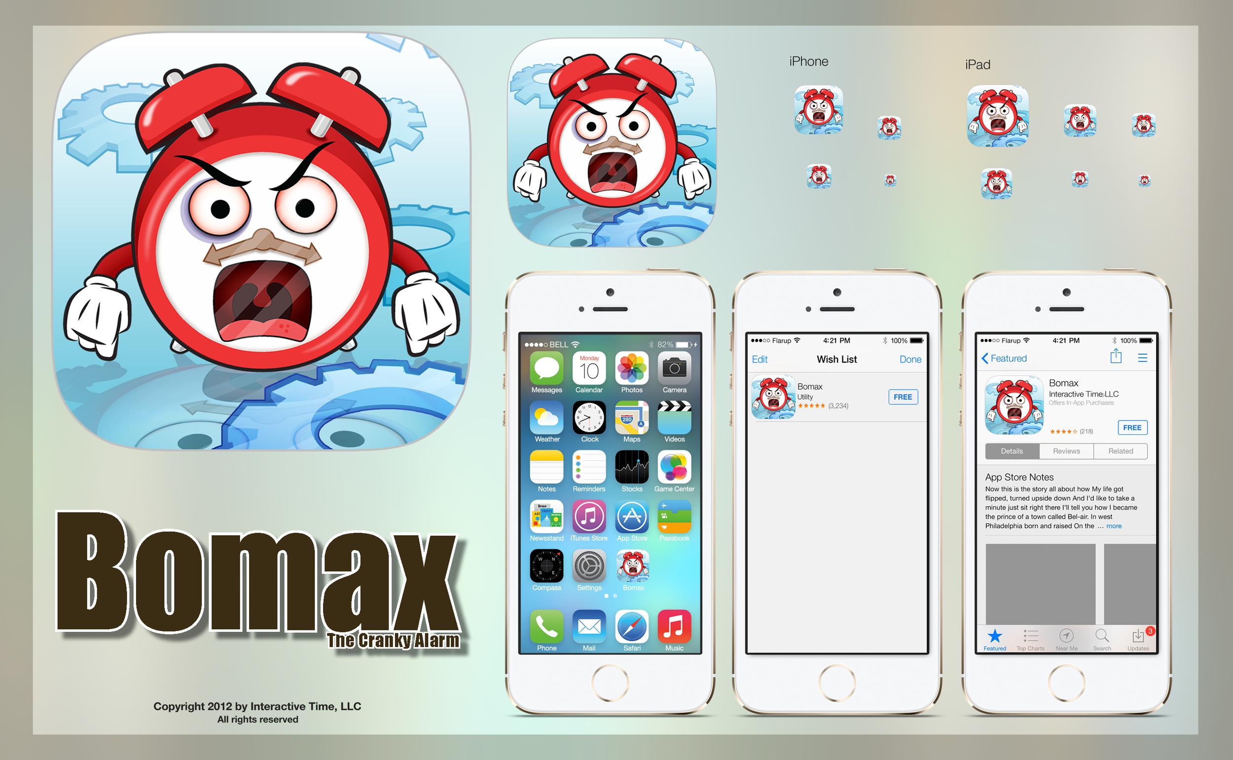 Bomax the Cranky Alarm iOS icon sheet