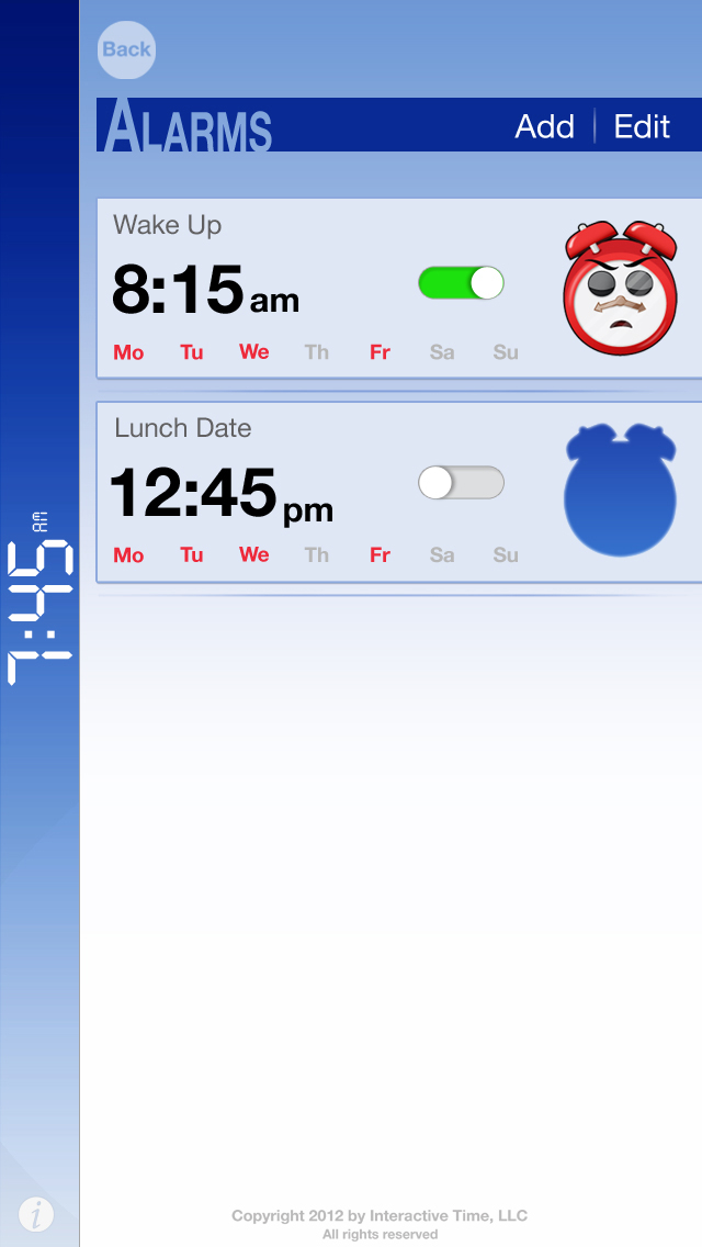 Bomax the Cranky Alarm UI