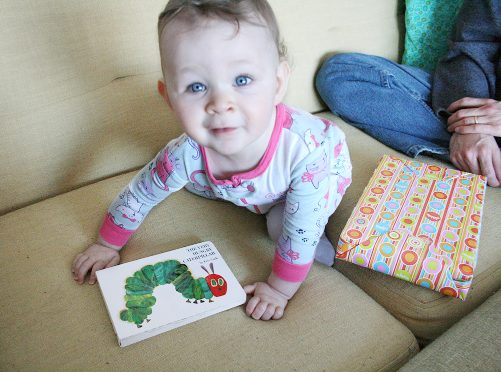 This morning she got The Very Hungry Caterpillar for her birthday and was immediately obsessed!