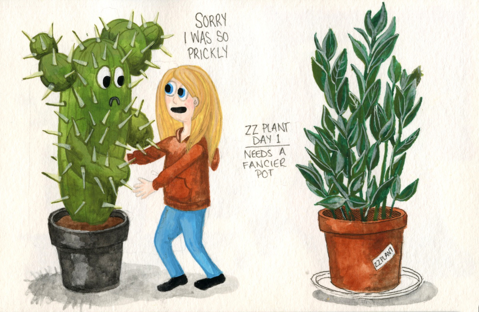 "Working on a cactus ""I'm Sorry"" card for sale in my etsy shop + our new ZZ Plant... thank you Thea for telling me how hard they are to kill!"