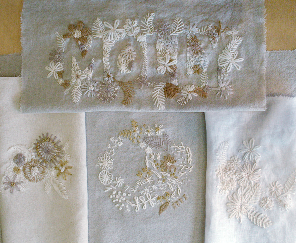 All of the undyed embroideries together.