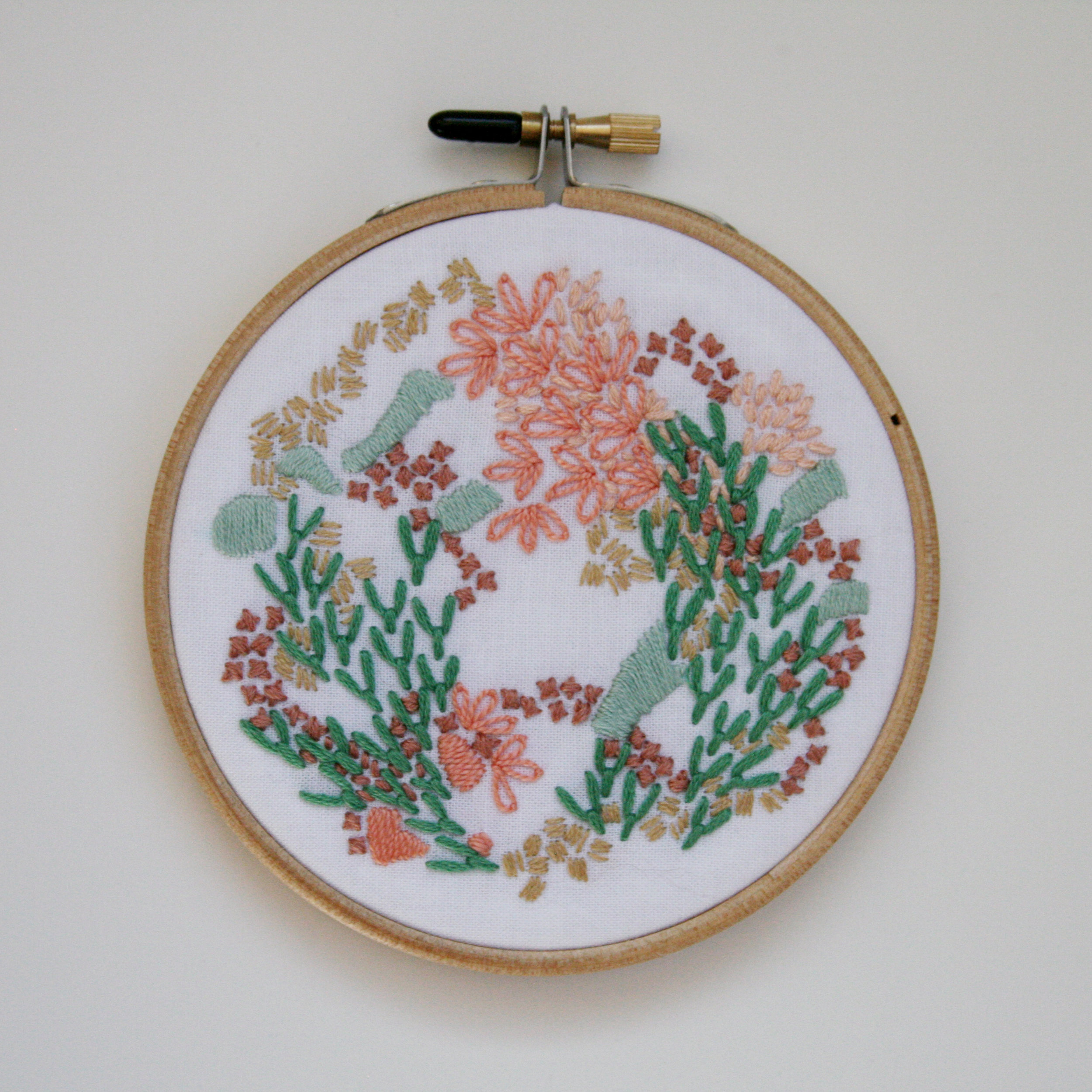 Embroidery 9 - Peach and Green Abstract - 4 Inch.jpg