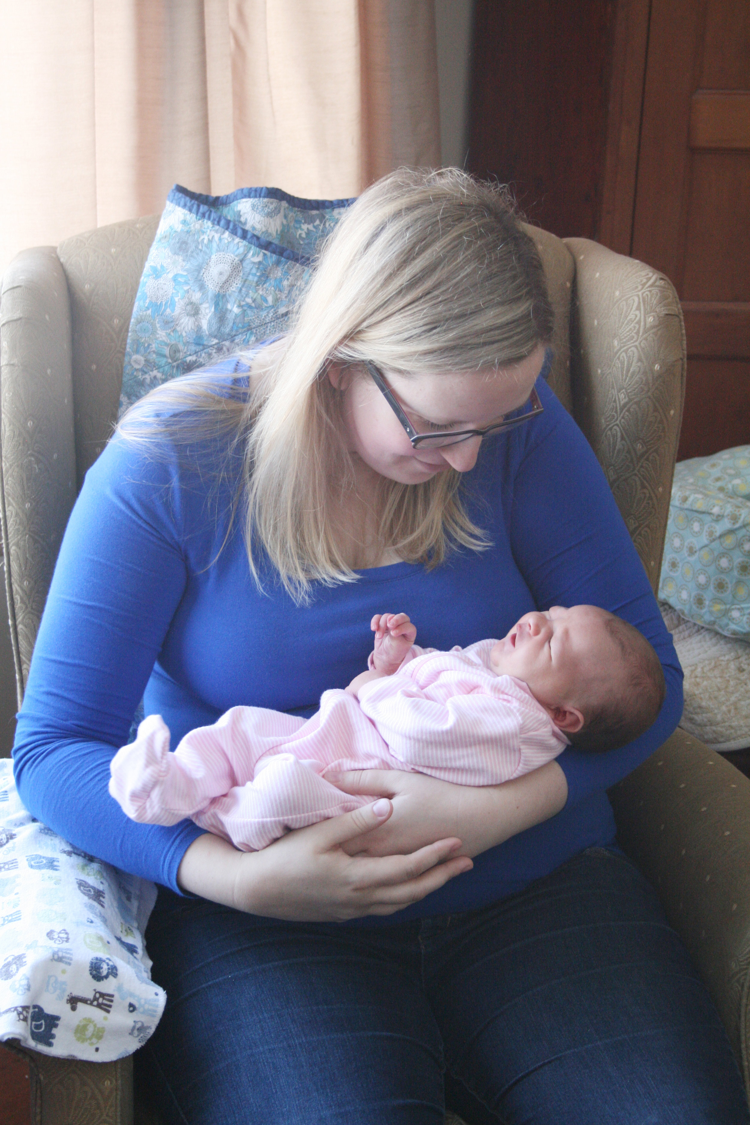 Holding Molly when she was only a few days old.
