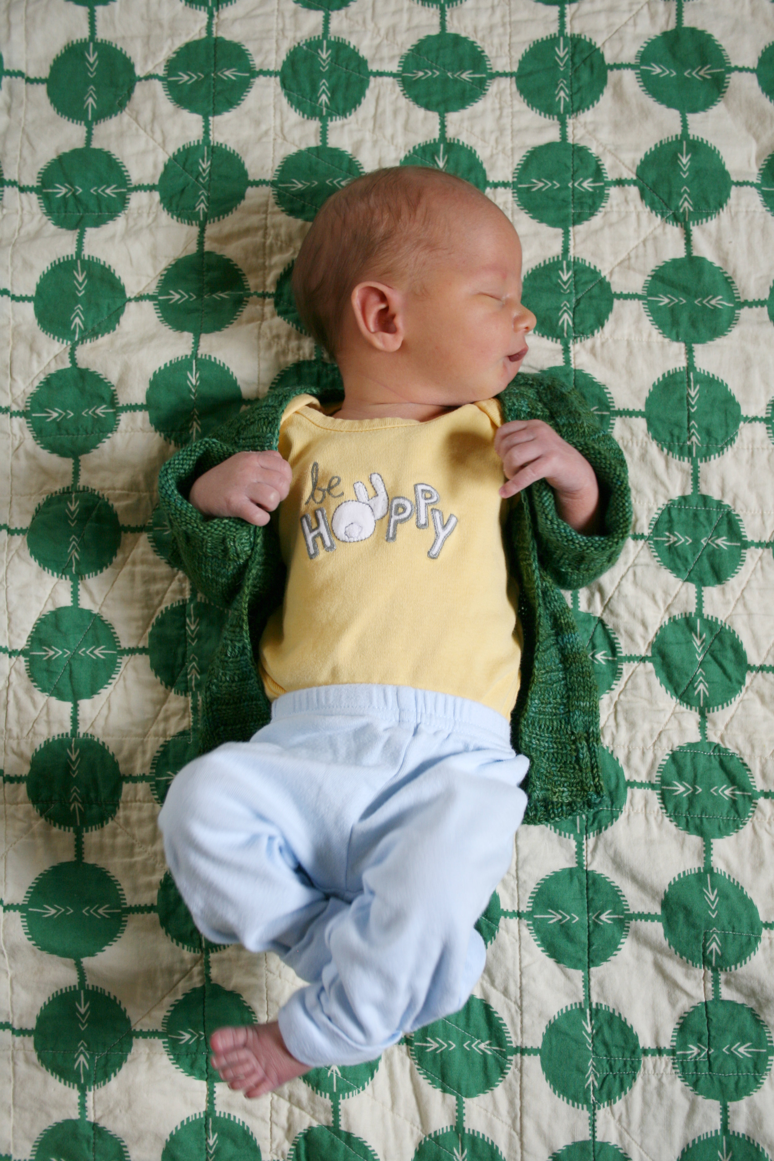 James, one week old - on a quilt at home.