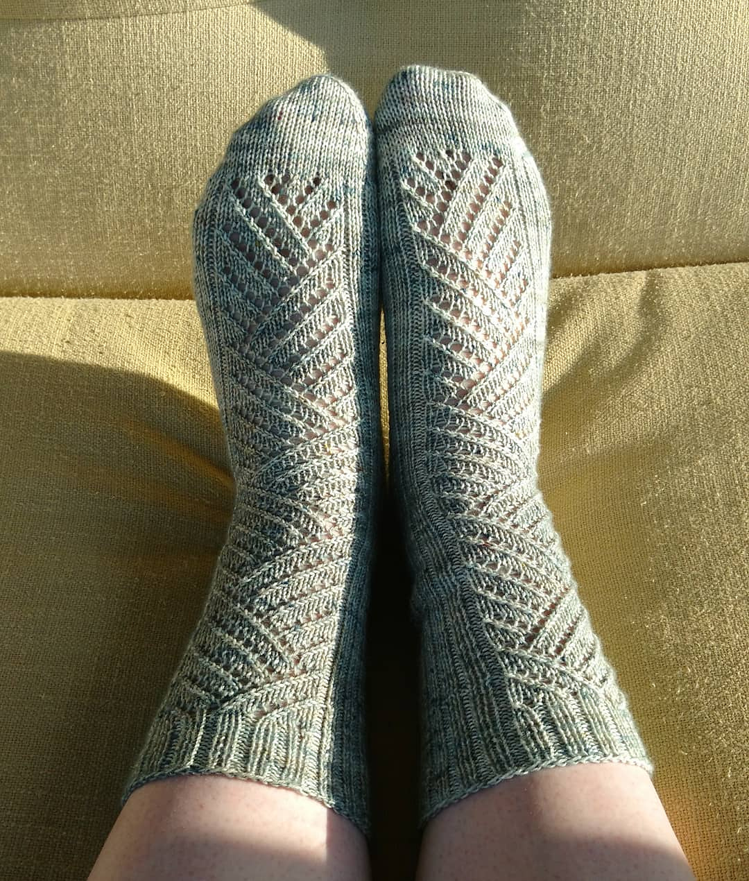 Winding Way Socks - Pattern by Tin Can Knits, Yarn is by Life in the Long Grass in the colour 'Beachgrass'