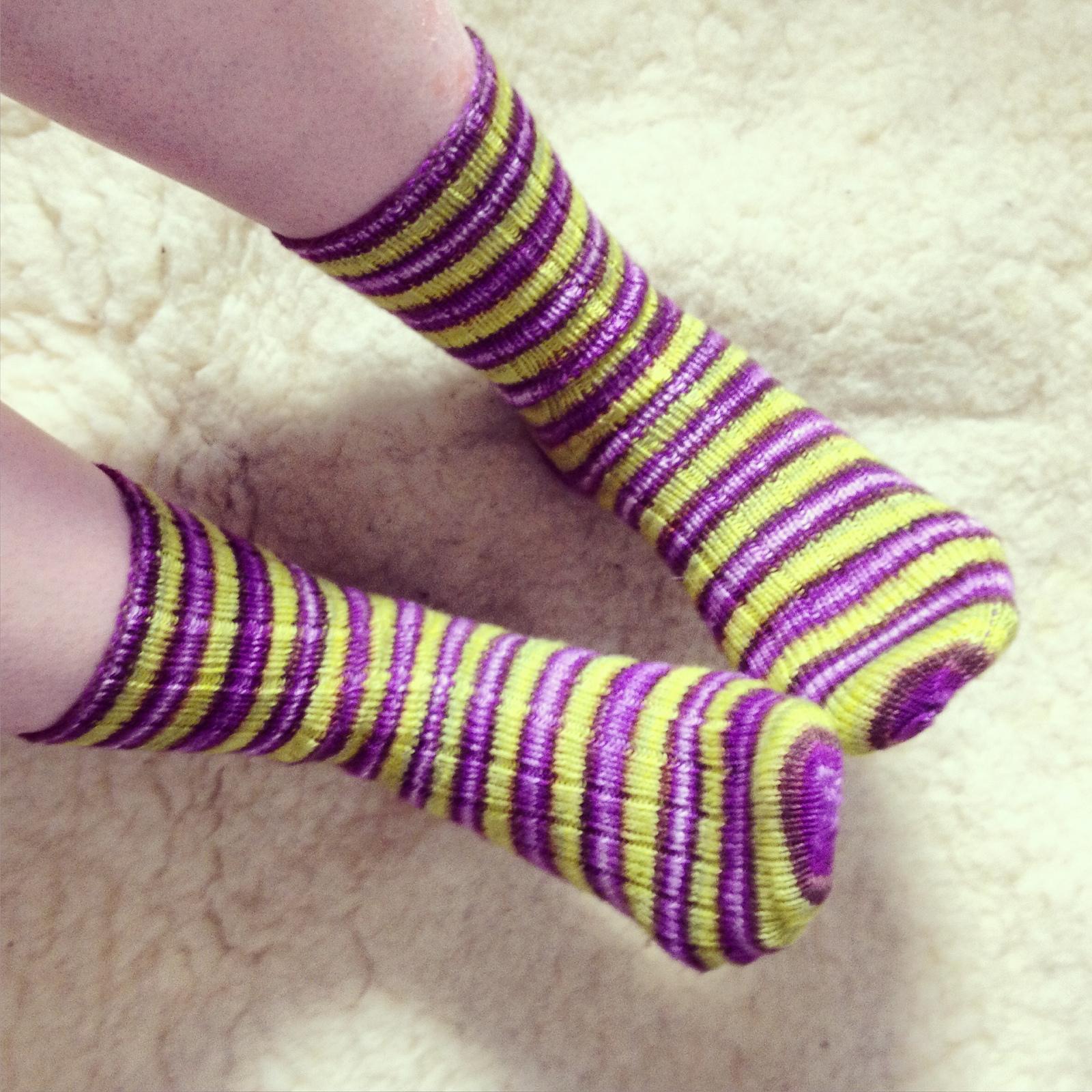Ribbed socks in 'Leaky Cauldron' Self-Striping Yarn by Biscotte Yarns