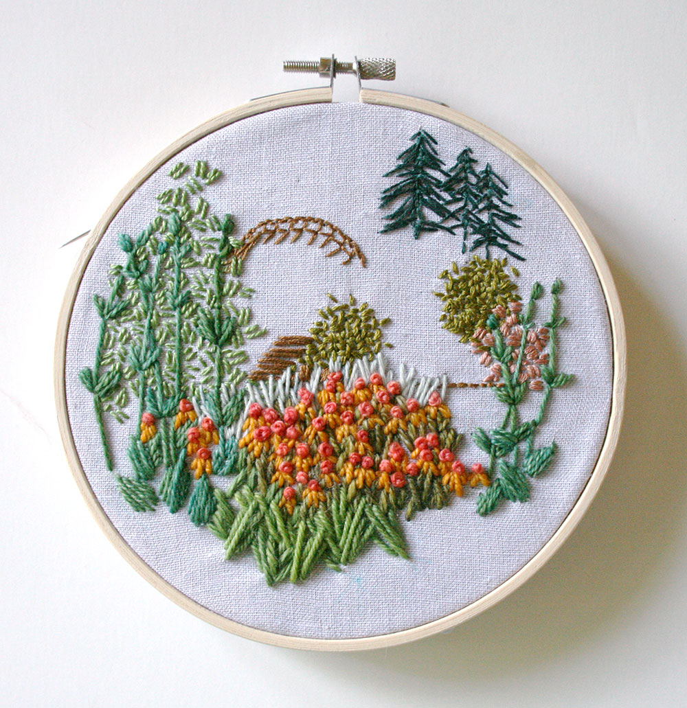Continuing to fill in the areas - Tutorial on how to embroider your own landscape art by Amanda Farquharson