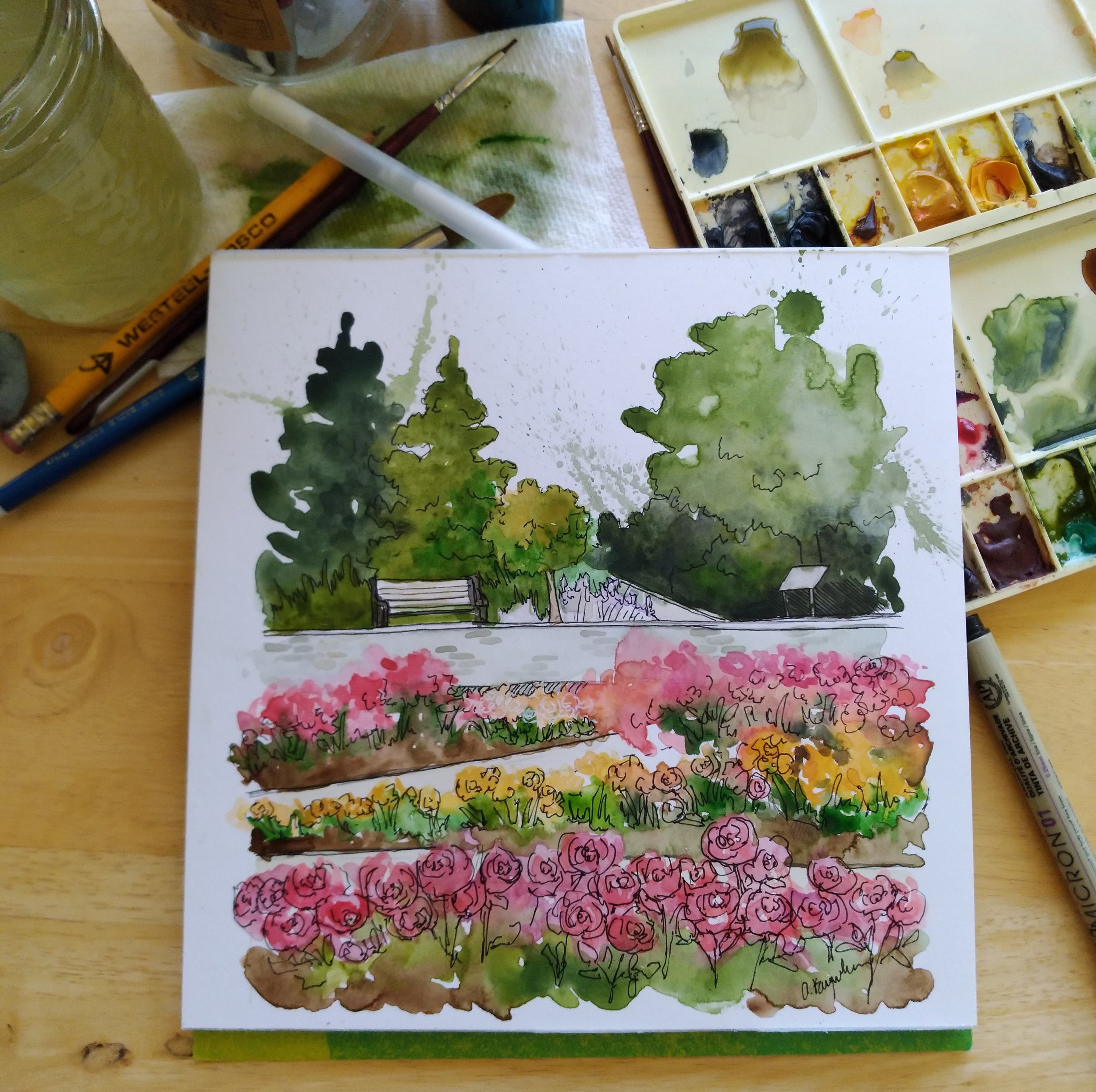 Watercolour rendition of the Rose Garden at the Royal Botanical Gardens by Amanda Farquharson