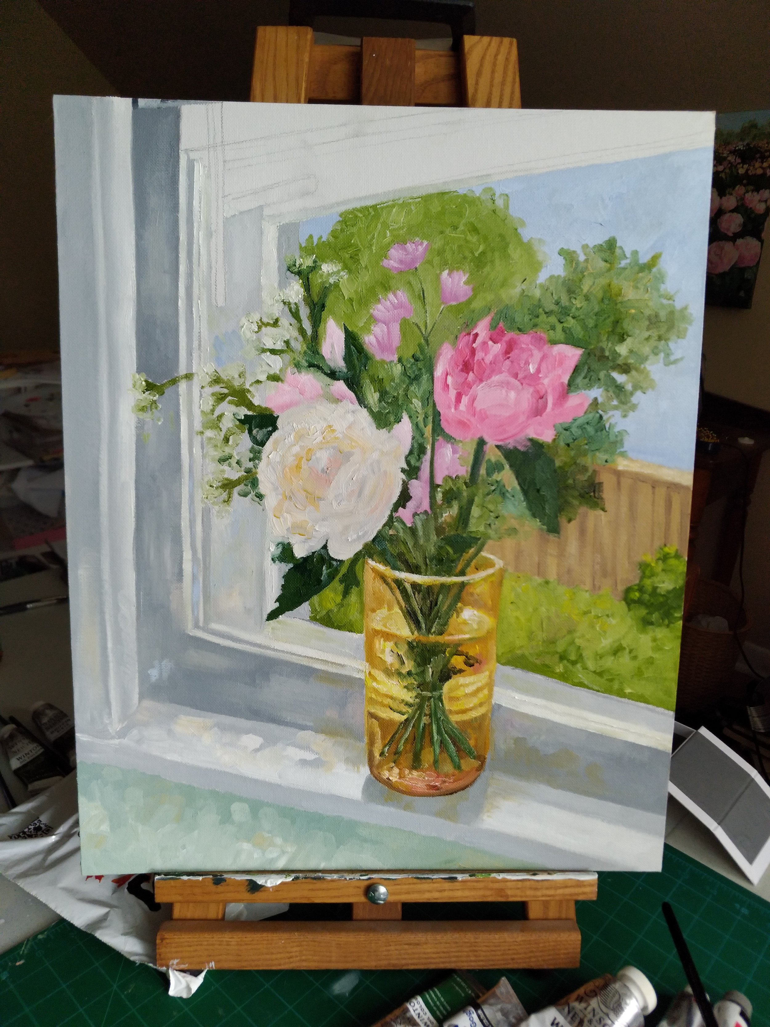 Work in progress: painting of our kitchen window by Amanda Farquharson