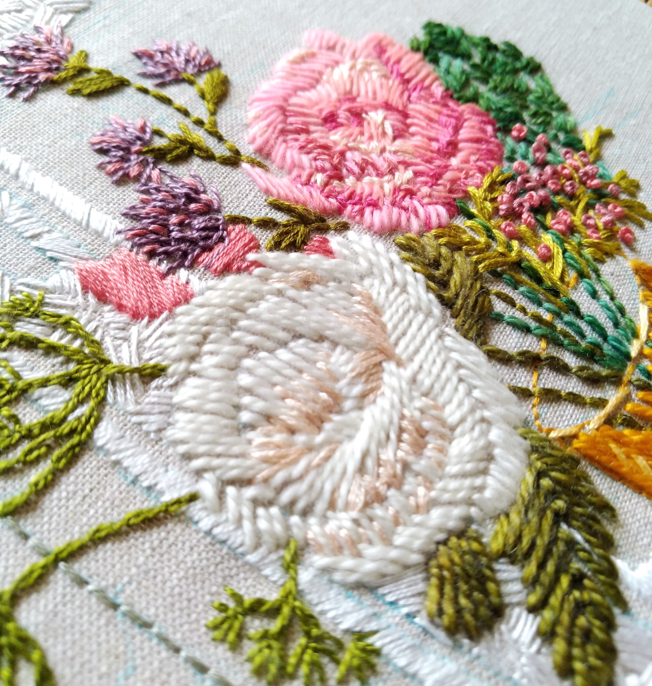 A shot of my current embroidery in process - by Amanda Farquharson