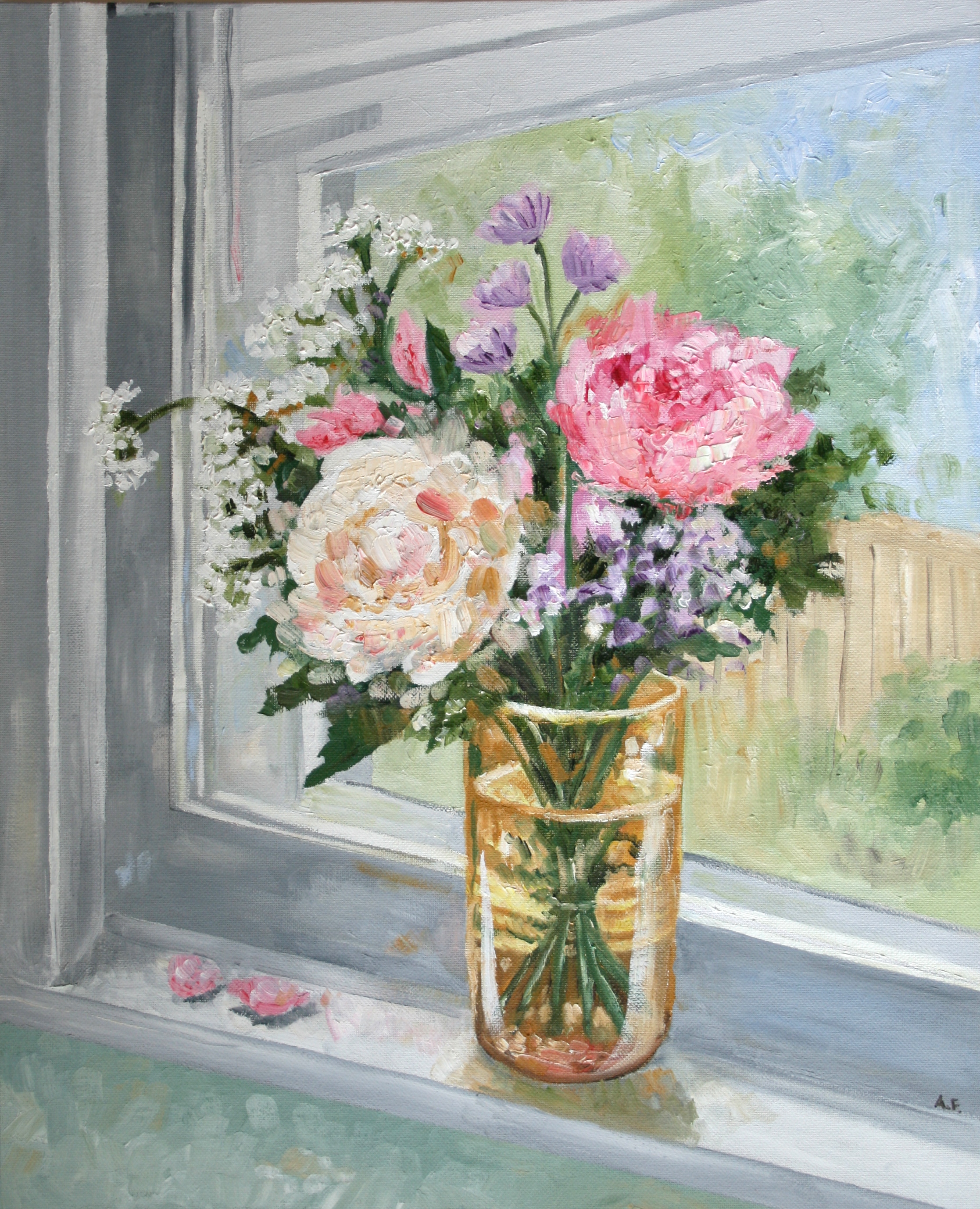 Triple Take: Kitchen Window Oil Painting (One of a set of three versions of this scene) - Amanda Farquharson