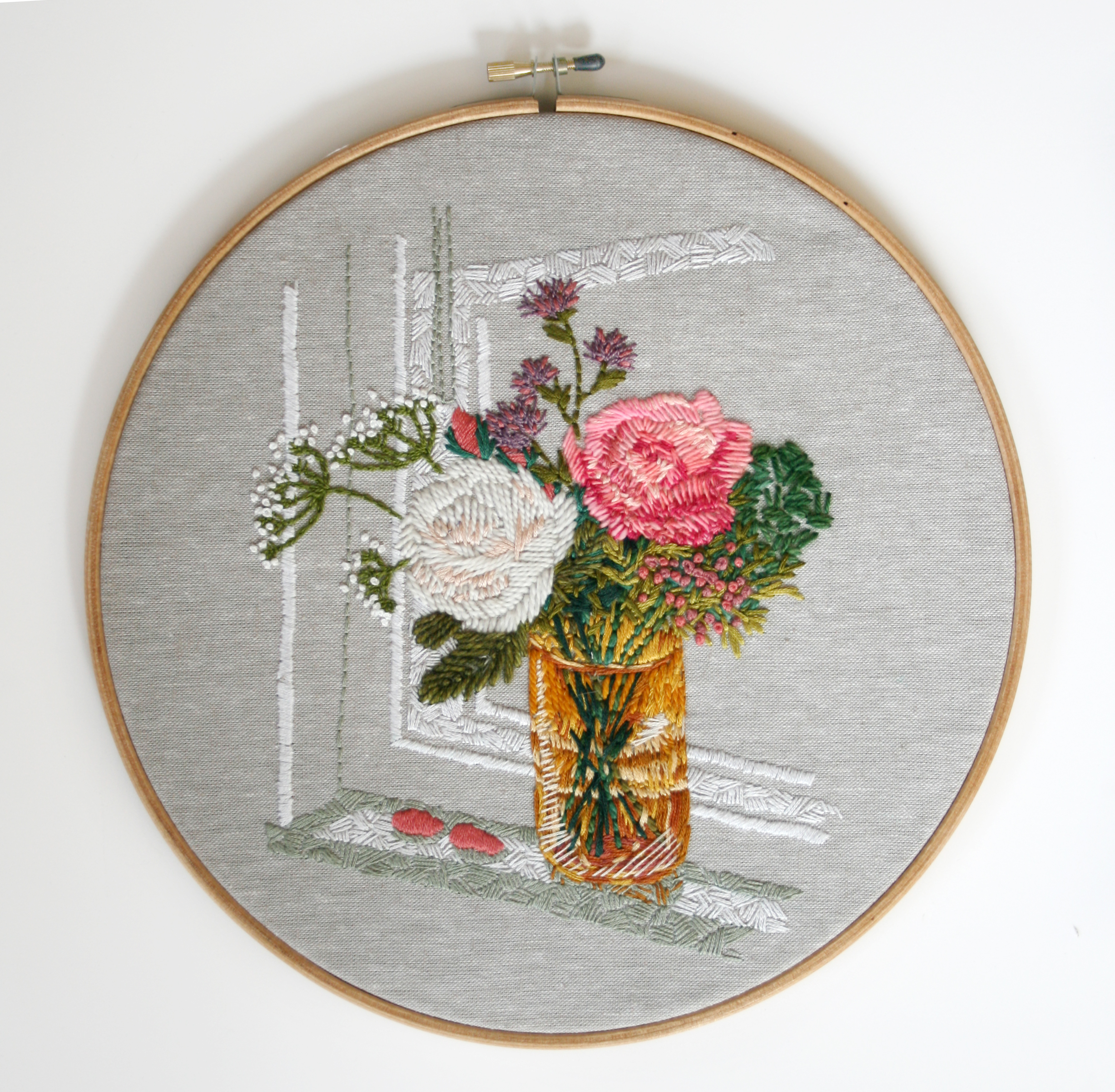 Triple Take: Kitchen Window Embroidery (One of a set of three versions of this scene) - Amanda Farquharson