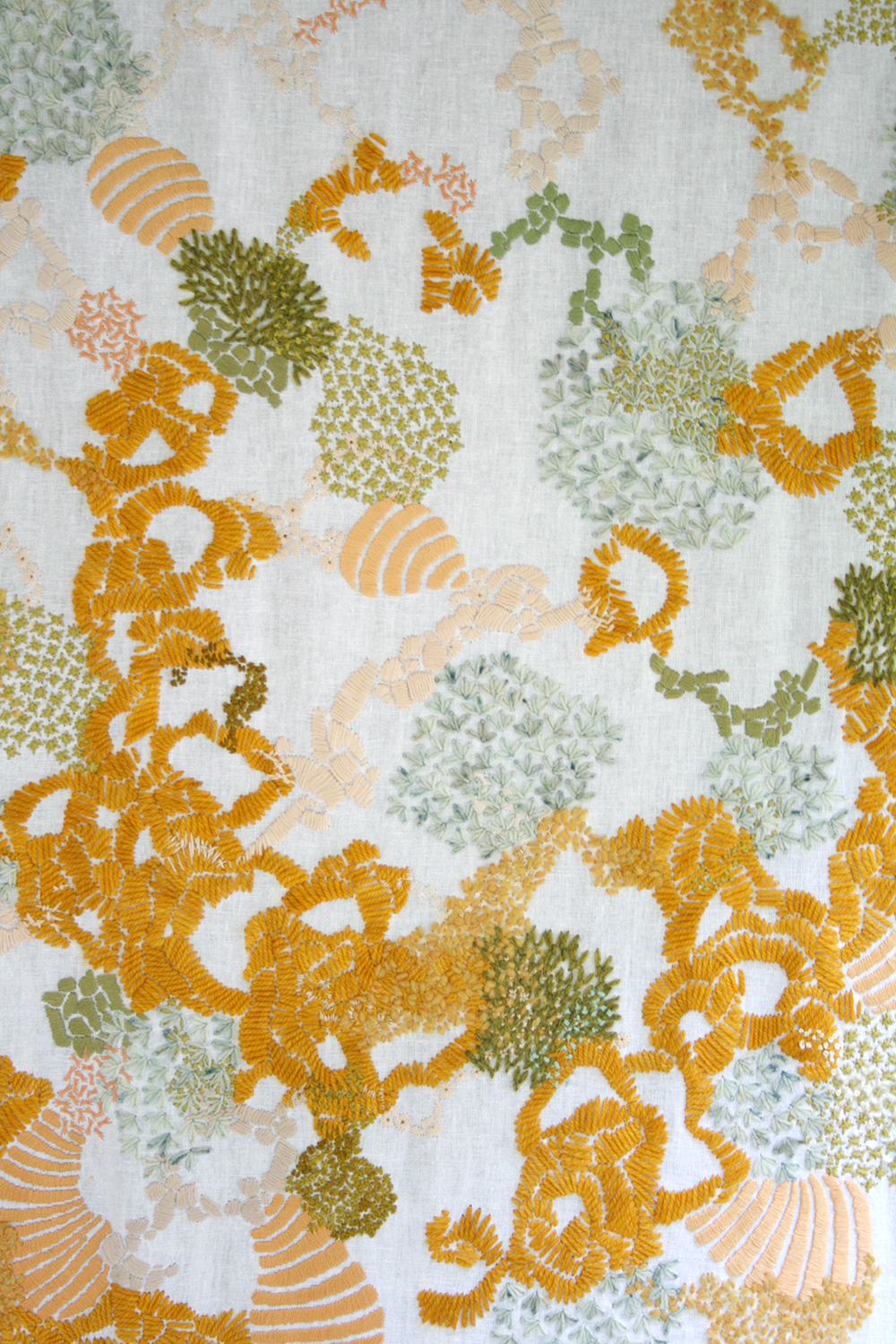 Detail of the Gold, Grass and Peach Embroidered Tapestry by Amanda Farquharson