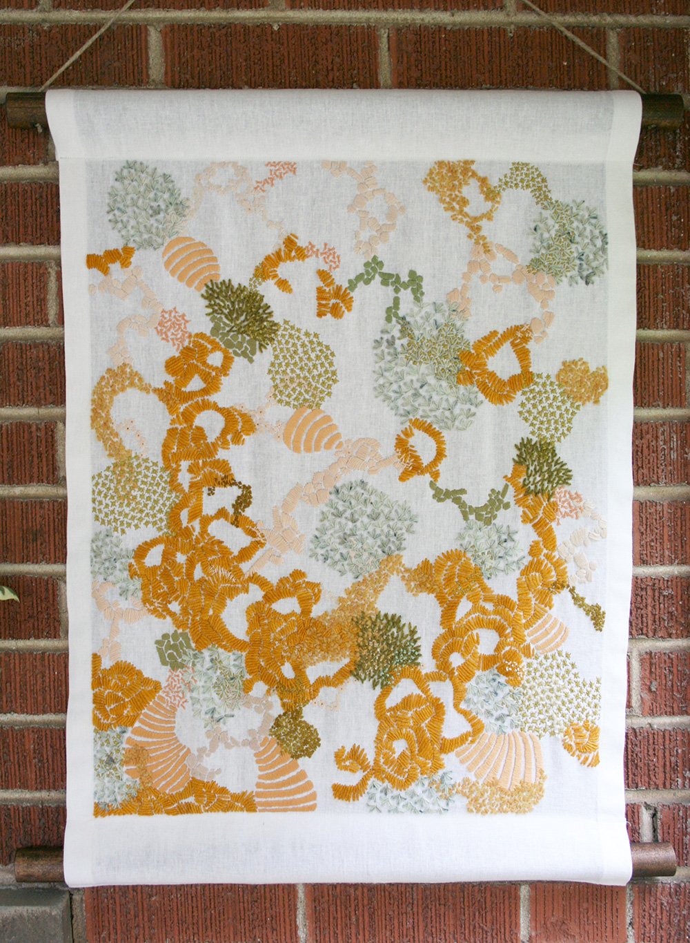 Gold, Grass and Peach Embroidered Tapestry by Amanda Farquharson