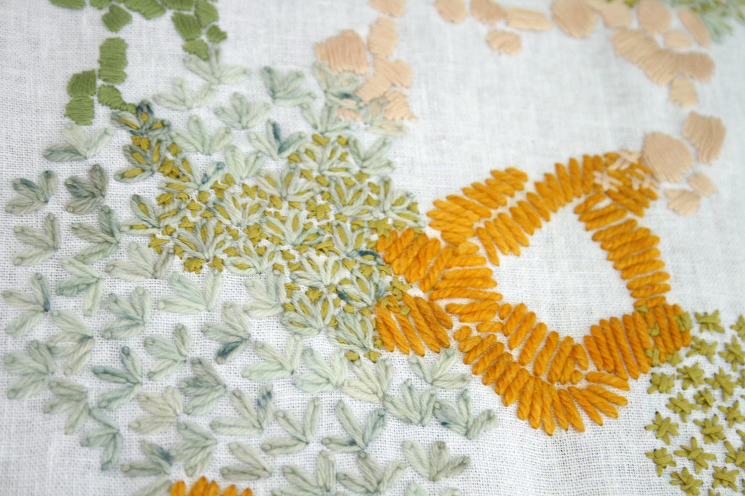 Another Detail Shot of the Gold, Grass and Peach Embroidered Tapestry by Amanda Farquharson