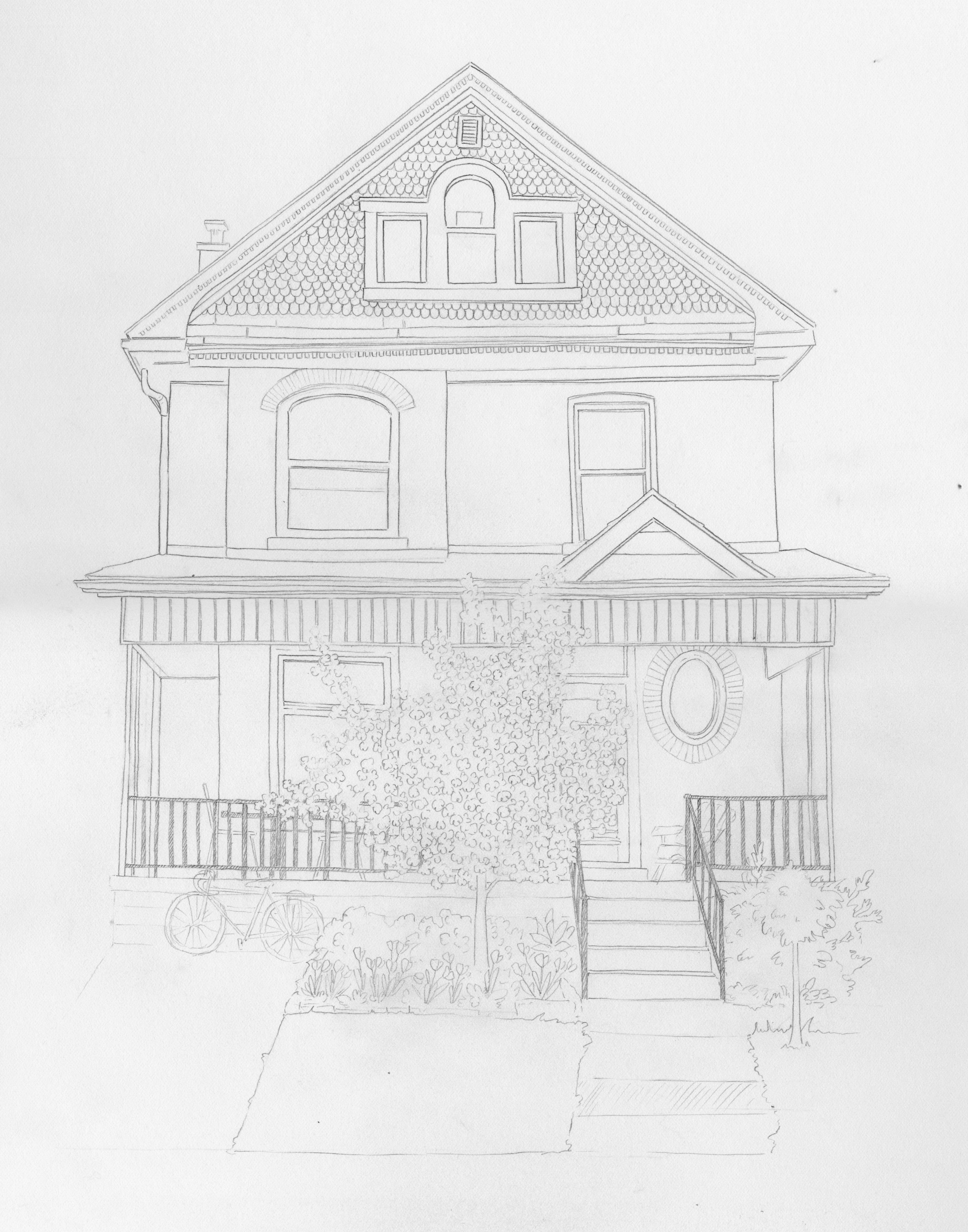 Pencil sketch for a house portrait. The client requested that I include a bicycle to represent their love of cycling, to have the apricot tree and the forsythia in bloom, and to add in some daffodils to complete the spring foliage! I also removed a car from the driveway.