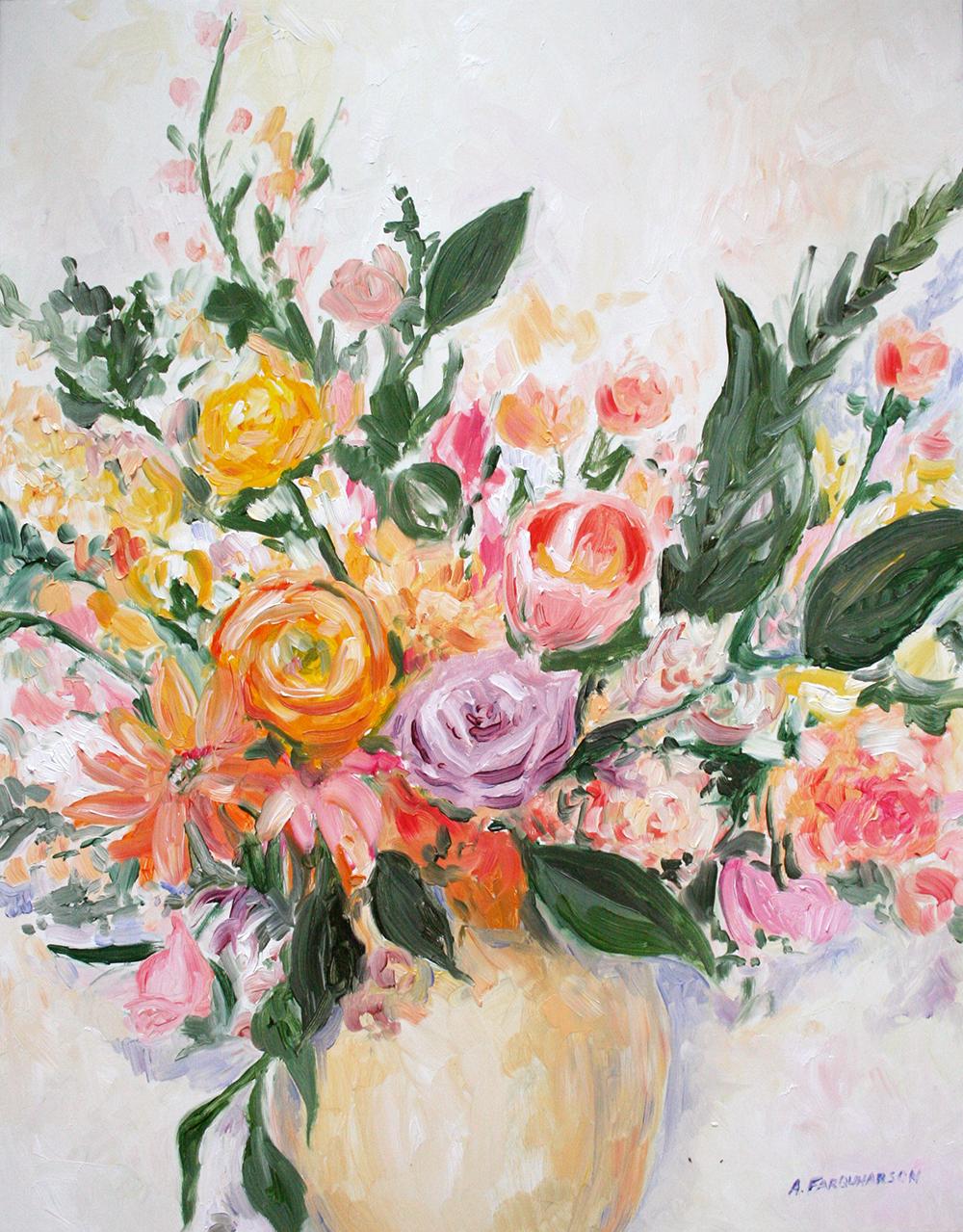 Warm Floral Bouquet. 11 x 14. Oil on Panel.