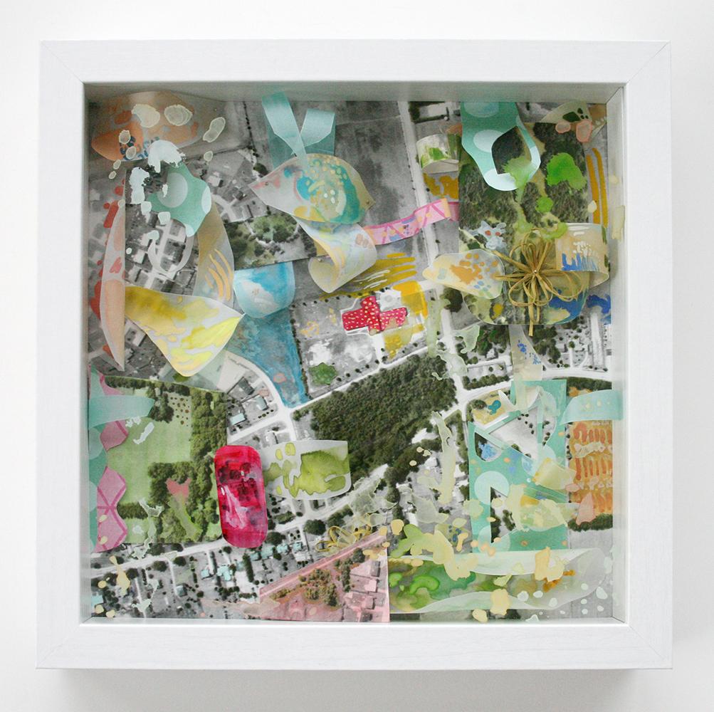 Aerial Hamilton Shadow Box by Amanda Farquharson  9 x 9 inches  Wood, glass, gouache, black and white aerial photograph, marker, cotton, wool, steel pins, vellum, and cut paper.