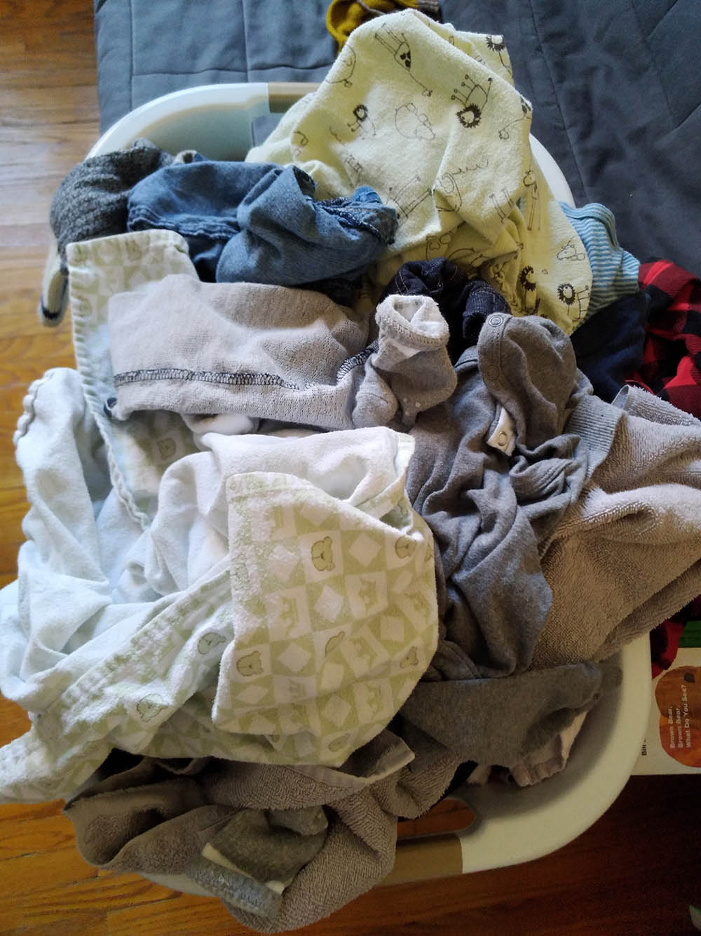 Ugh, there are SO MANY tiny crumpled up clothes in this basket.