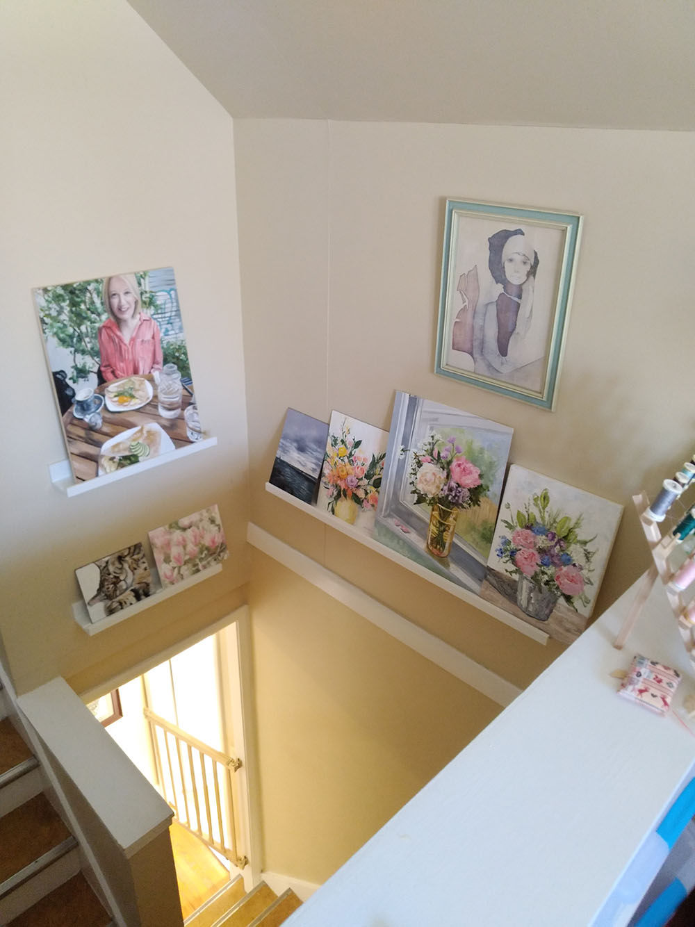 I installed shelves in the stairwell to hold my oil paintings in progress as they take ages to dry.