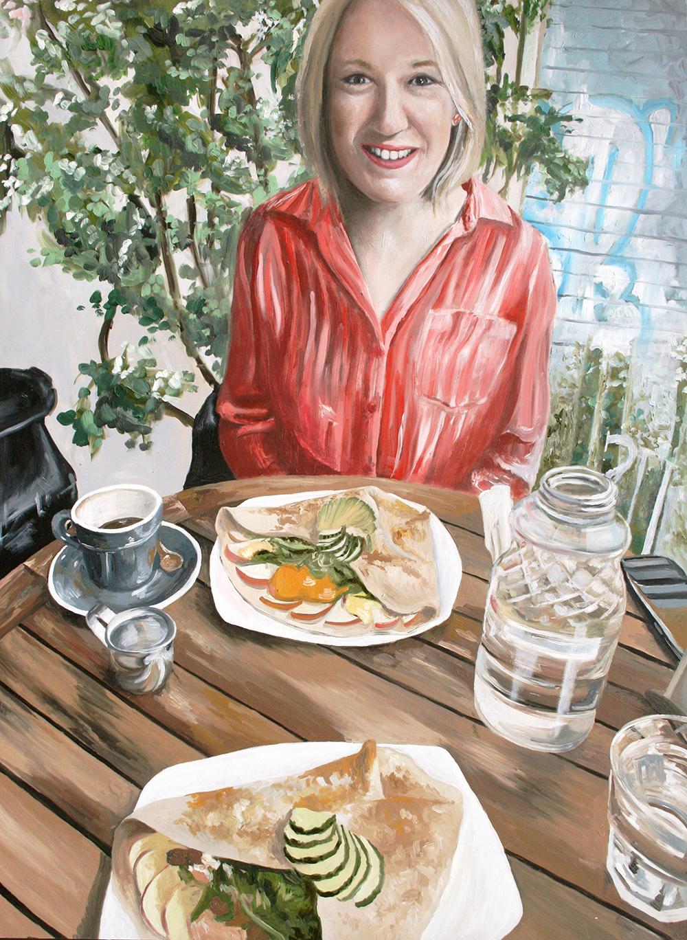 "Sister Brunch (Work in Progress).  18"" x 24"" Oil on Cradled Hardboard 2019.  by Amanda Farquharson"