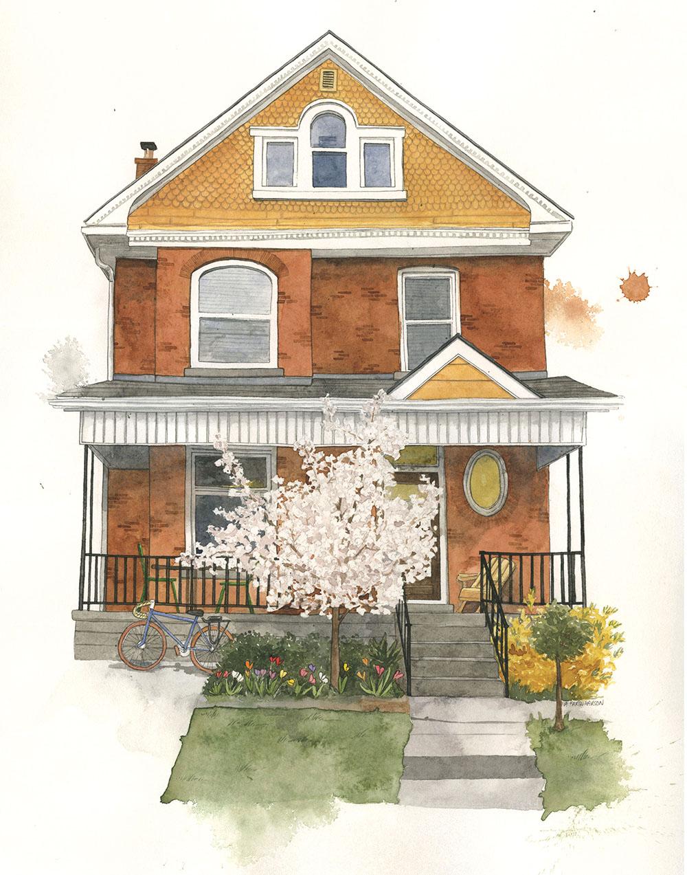 Custom House Watercolor Portrait