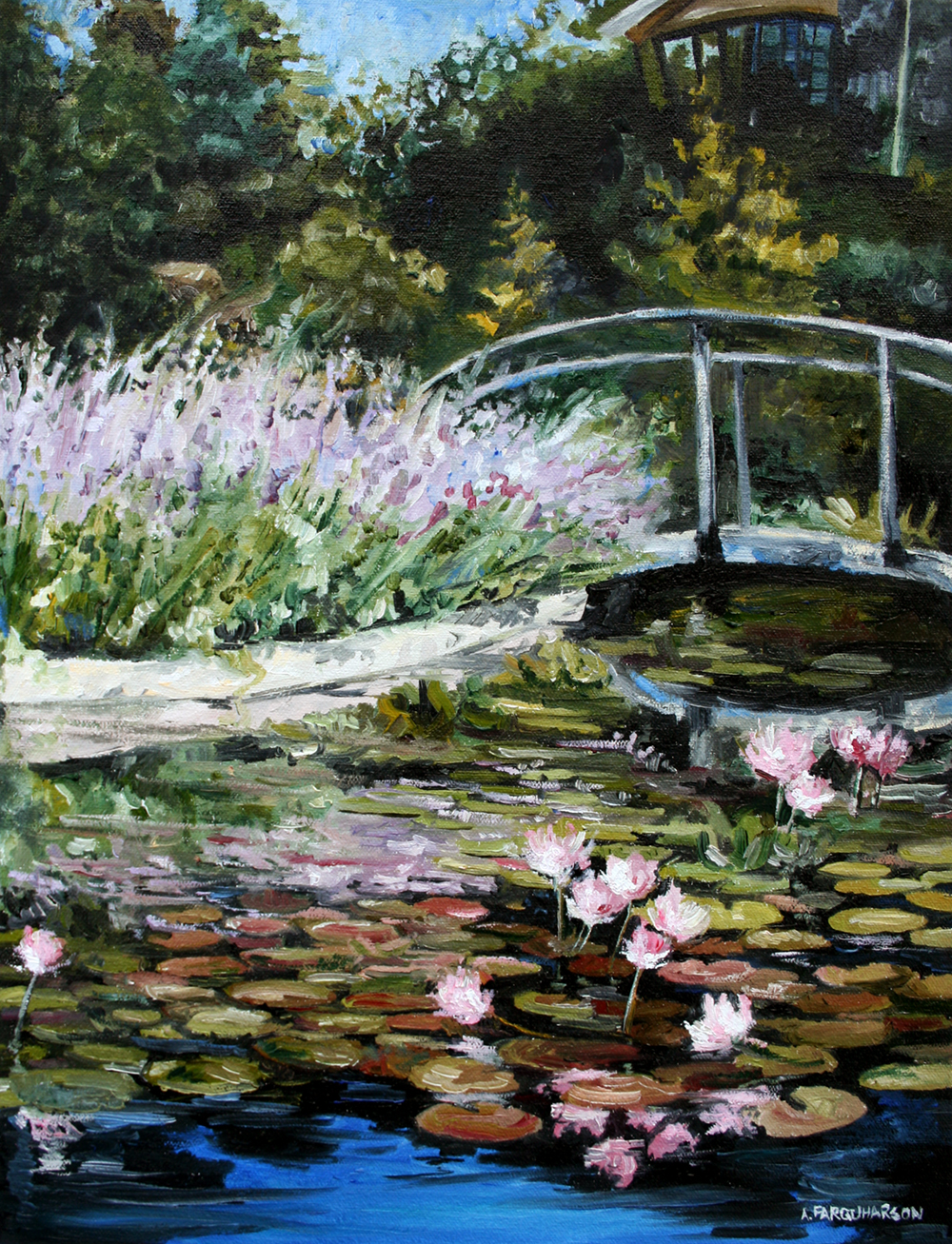 Russian Sage, Water Lilies and Foot Bridge by Amanda Farquharson 12 x 16 inches, oil on canvas