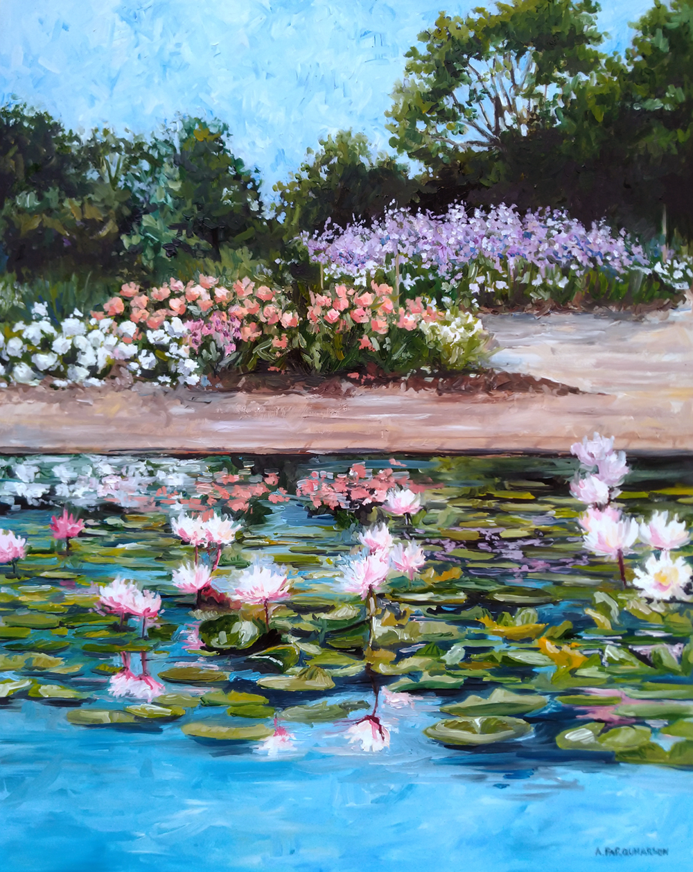 Roses and Water Lilies by Amanda Farquharson 16 x 20 inches, oil on panel
