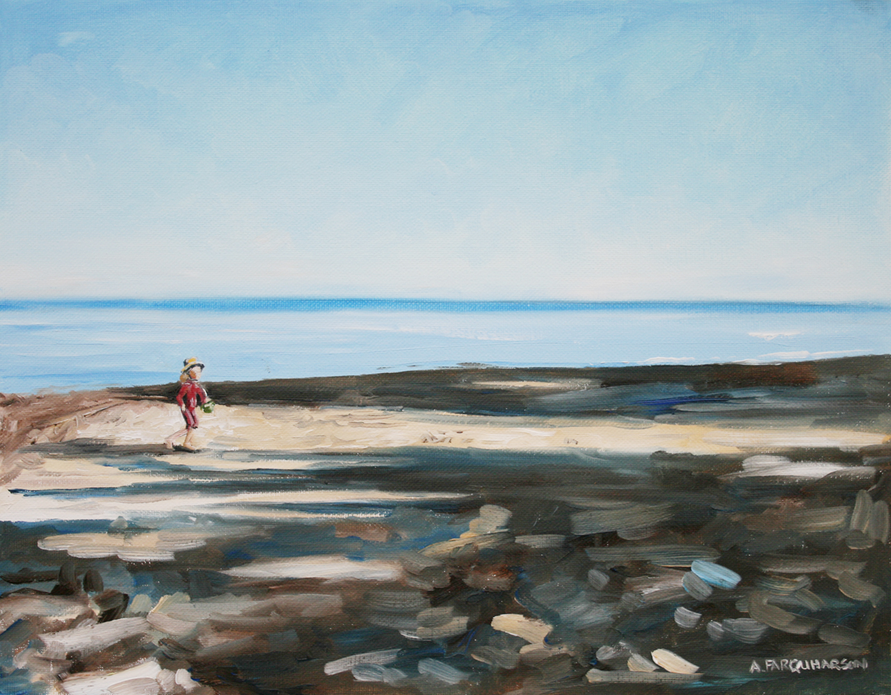 Early Morning Shadows and Pails of Water by Amanda Farquharson 11 x 14 inches, oil on canvas
