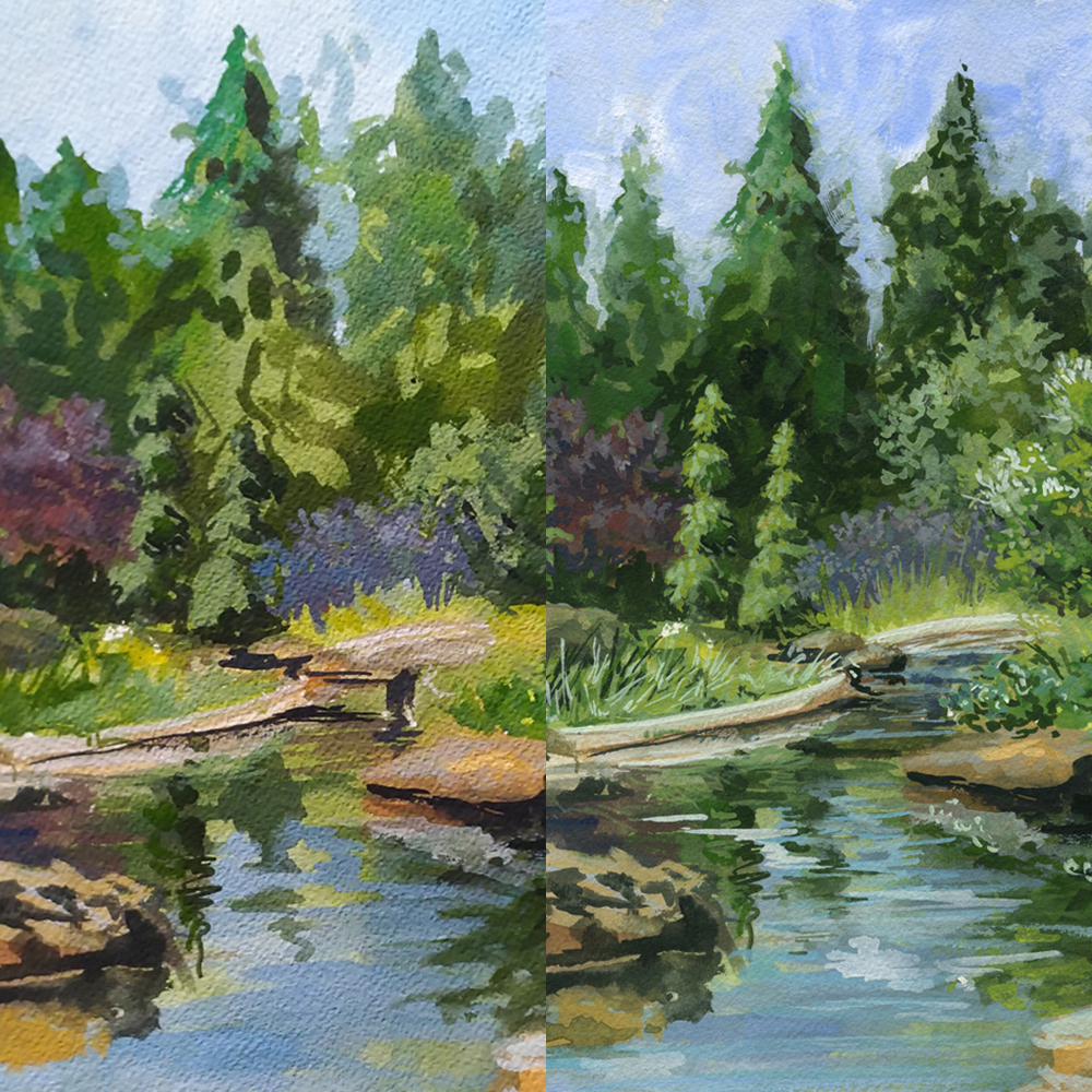 Rock Garden Study in Gouache  On the left: as it looked when I finished my time on location On the right: After about an hour of studio painting