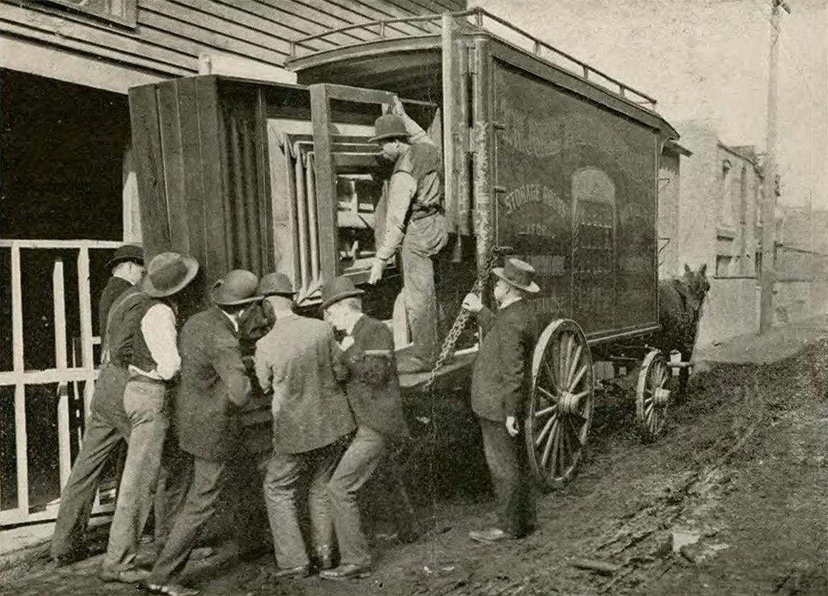 Transporting the camera. INDIANA HISTORICAL SOCIETY