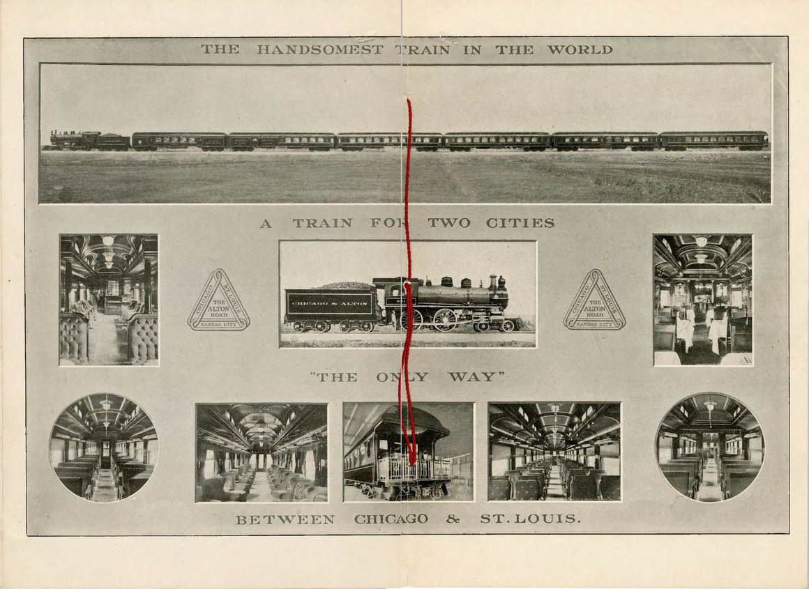 """A spread from the Chicago & Alton pamphlet, """"The Largest Photograph in the World of the Handsomest Train in the World"""", including Lawrence's image of the train. INDIANA HISTORICAL SOCIETY"""
