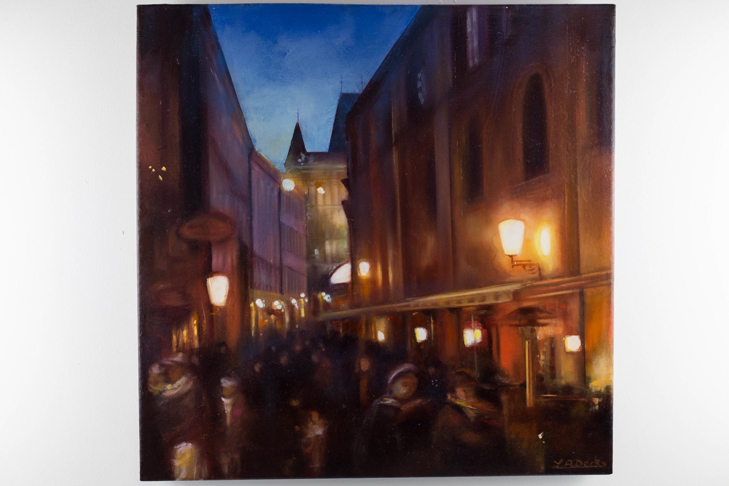 LOT 29   Lesley Anne Derks   Toward the Charles Bridge  Oil on Canvas